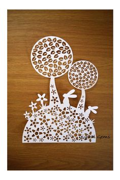 Paper Cut Template Cute Rabbit and Tree Design by DigitalGems