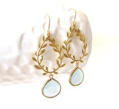 Mint Ice Earrings Gold Leaf Earrings Mint Earrings Gold Laurel Wreath Greek Wedding Jewelry Aqua Bridesmaid Earrings Rustic Winter Wedding