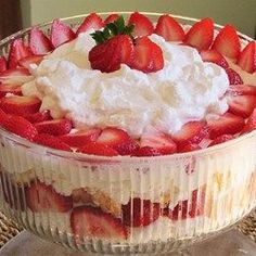 Angel food cake, vanilla pudding, frozen strawberries, and Cool Whip(R) combine to create this strawberry shortcake-like trifle in a punch bowl.