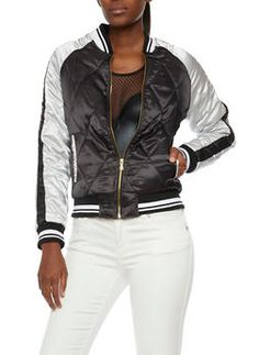 Quilted Satin Bomber Jacket - 3086051065538