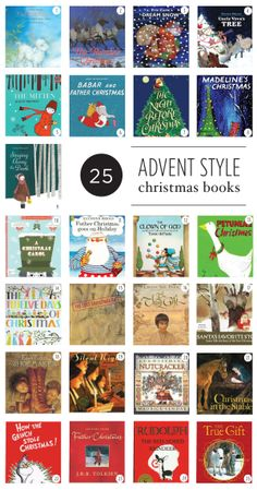 25 Christmas Books to read to your kiddos.  One for each night leading up to Christmas.