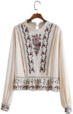 Melissa, Embroidered Long-Sleeved Blouse