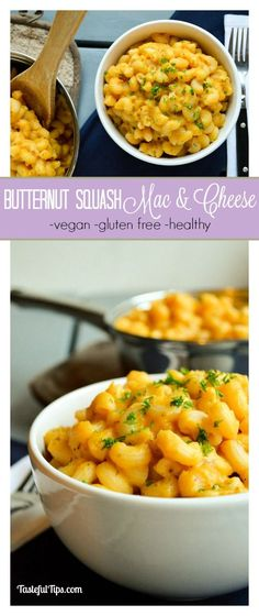 Butternut Squash Mac & Cheese. Vegan, dairy free, gluten free, and of course healthy! A favorite of mine to sneak in those vegetables!