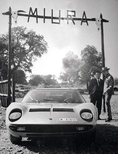 Photo's from Dosso museum - Spanish Don Eduardo Miura on his ranch together with Ferruccio Lamborghini and both a Miura car and Miura bulls.