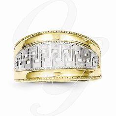 10k & Rhodium Greek Key Ring