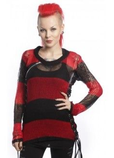 Miss Krueger Top red and black by Heartless