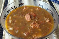 Easy 6-Step Recipe for Sopa de Lentejas, Spanish Lentil Soup. It did take longer to make than expected, but the result was really nice. I will put sausage in it next time though, didn't think the pork loin added anything.