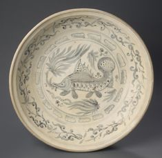 Bassin, Vietnam, 15th - 16th century, Stoneware with underglaze blue, 8.9 x 37.5 cm Philadelphia Museum of Art, 1966-218-2