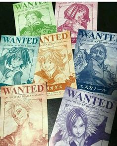 Seven deadly sins wanted posters! Who's your favorite character in that show? ∆ Anime: Seven Deadly Sins ∆ anime sevendeadlysins seven deadly sins wanted posters tvshow Otaku Anime, Manga Anime, Anime Art, Seven Deadly Sins Anime, 7 Deadly Sins, Anime Love, All Anime, Cosplay Anime, Cool Animes