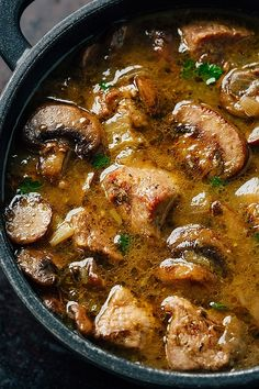 Steak and Ale Soup with Mushrooms A savory steak and ale soup with tender mushrooms—flavorful, comforting and nourishing! - Steak and Ale Soup with Mushrooms Easy Soup Recipes, Crockpot Recipes, Dinner Recipes, Healthy Recipes, Beef Broth Soup Recipes, Irish Food Recipes, Instapot Soup Recipes, Keto Beef Stew, Summer Soup Recipes