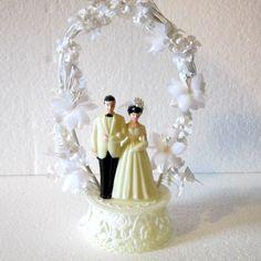 Cake topper  vintage bride and groom cake topper organza like flowers vintage bride and groom cake topper timelesspeony (15.95 USD) by Timelesspeony
