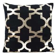 Add a gorgeous pattern to your living room or bedroom with this black & metallic gold quatrefoil pillow!