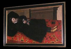 """Nádasdy Ferenc kivégzése, Magyar Nemzeti Múzeum Hungary, funerary portrait, date and artist unknown, the departed lies on a Turkish """"Lotto"""" rug"""