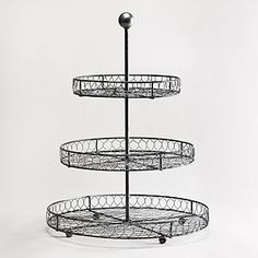 3 Tier Wire Stand, $20...for my fruits + veggies, finally a stand short enough to fit under my cabinets {World Market}