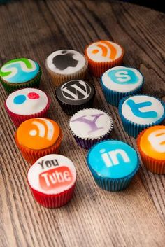 Customizable social media ghost logo cupcake toppers.