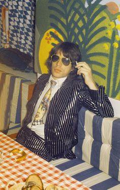 Mick Jagger, 1970s. Love the blazer & the yellow aviators.