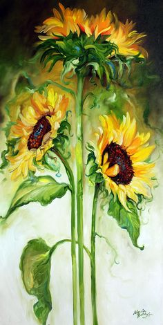 Triple Sunny Sunflowers Painting by Marcia Baldwin