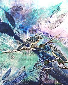 BIRD SONGS by Julia Dufault McGrath Watercolor, Acrylic, Ink, Paper Collage ~ 18.75 INCHES x 15 INCHES