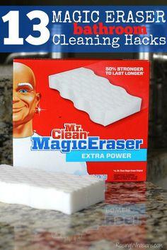 13 Magic Eraser Bathroom Cleaning Hacks | Best uses for Mr. Clean Magic Eraser for easy spring cleaning! #MagicEraser #ad