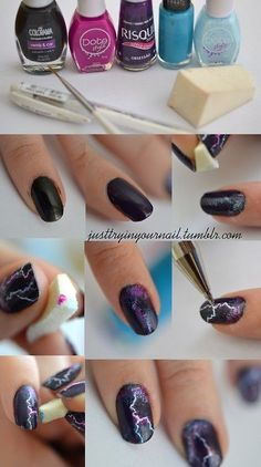 Lightning Nails Are The New Galaxy Nails lightning finger nail tutorial Get Nails, Fancy Nails, Love Nails, How To Do Nails, Pretty Nails, Hair And Nails, Edgy Nails, Lightning Nails, Lightning Bolt