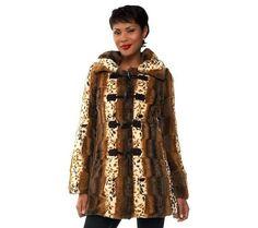 Dennis Basso Reversible Fur Toggle Coat Detach Hood Chocolate L NEW A228866