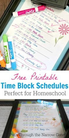"Far from being restrictive, a time block schedule can breathe new life into your homeschool routine, giving you permission to have fun during your day but also keeping your ""to do"" list realistic. Improve your schedule with these cute printables to keep you on track."