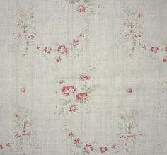 Bella Fabric A lovely linen fabric with a delicate washed out print of pink roses with green foliage on thin stripes.
