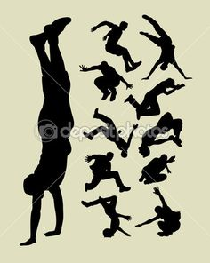 Male people in action silhouettes. Good use for symbol, logo, sticker design, wallpaper, background and any design you want. Easy to edit or change color.