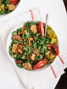 """Vegan BLT Salad with Kale, Heirloom Tomatoes, and Coconut """"Bacon"""" - a healthier take on the BLT, turned into a delicious vegan salad"""