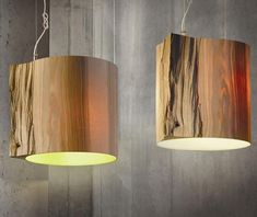 """Latvian designers from mammalampa used the hollow core of a tree stump to create this stunning pendant lamp:"" bored by plastic, we yearn for living beauty.'"" Using natural materials and modern technology, they managed to turn a part of a tree into a beautiful and elegant lampshade, with soft light and a natural feel."""