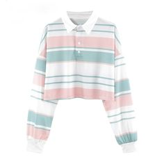 Pastel Striped Cropped Polo Shirt Cropped collared long-sleeved top with pastel colour stripe pattern. Sweatshirt Outfit, Polo Shirt Outfits, Polo Shirt Women, T Shirts For Women, Clothes For Women, Polo Shirts, Stripe Shirts, Crop Top Styles, Pastel Shirt