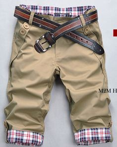Summer Men Fashion Casual Plaids Three-quarter Casual Pants