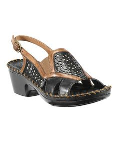 This Black & Tan Del Ray Leather Sandal by Ariat is perfect! #zulilyfinds