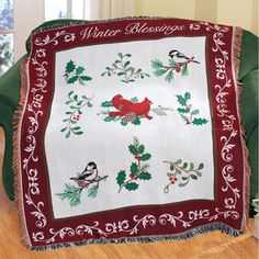 Holiday Winter Blessings Tapestry Throw