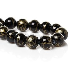 20 Jet Black and Gold Glass Beads Gold Splatter 10mm Loose Beads 3903 by OverstockBeadSupply on Etsy
