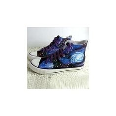 Painted Galaxy Canvas Sneakers (€31) ❤ liked on Polyvore featuring shoes, sneakers, converse, footware, plimsoll shoes, black low heel shoes, black canvas sneakers, plimsoll sneaker and black trainers