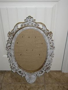 old mirror repurposed as bulletin board