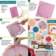"""Think outside the box (or circle) and design wall art made out of embroidery hoops! Perfect for my """"Dots on Chocolate"""" theme! Embroidery Hoop Crafts, Embroidery Stitches, Diy And Crafts, Arts And Crafts, Home And Deco, Wall Art Designs, Sewing Crafts, Projects To Try, Fabric"""