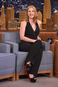 "Jessica Chastain Photos - Jessica Chastain Visits ""The Tonight Show Starring Jimmy Fallon"" at Rockefeller Center on October 2015 in New York City. - Jessica Chastain Visits 'The Tonight Show Starring Jimmy Fallon' Jessica Chastain Body, Revealing Dresses, Bryce Dallas Howard, Press Tour, Tonight Show, Rachel Mcadams, Jimmy Fallon, Chor, Most Beautiful Women"