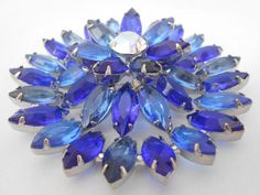 Blue Glass Brooch Layered Open Back Statement by Libbysmomsvintage