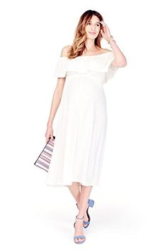 Ingrid Isabel OfftheShoulder Midi Maternity Dress S Ivory >>> Check this awesome product by going to the link at the image. (This is an affiliate link and I receive a commission for the sales) Stylish Maternity, Maternity Dresses, 2 Months Pregnant, Nursing Wear, Ruffle Top, Off The Shoulder, White Dress, Feminine, Boho