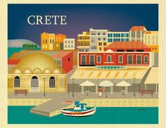 Crete, Greece Skyline Destination Print - Travel Wall Art - for Home, Office, and Nursery - style E8-O-CRE by loosepetals on Etsy https://www.etsy.com/listing/233284379/crete-greece-skyline-destination-print