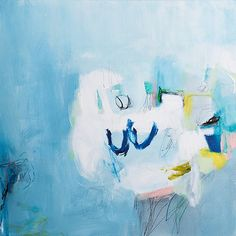 Large Abstract Painting 39x20 Light Blue painting by DUEALBERI