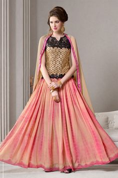 Pink-Beige #Embroidered Designer #AnarkaliSuit