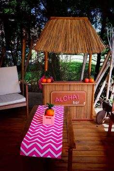 Cool decor at a summer luau birthday party! See more party planning ideas at CatchMyParty.com!