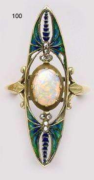 Bvlgari cabochon jewelry | Ring | Eugène Feuillâtre. Opal, plique-à-jour enamel, diamond and ...