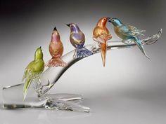 Murano Glass – Birds on a Branch Sculpture
