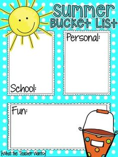 Join Natalie and Rachelle from What the Teacher Wants in a fun summer bucket list linky party!Grab your free copy of the template here, then edit it (I use PowerPoint) and then post it so we can see your fun summer plans. {Read more at www.whattheteacherwants.blogspot.com}Don't have a blog?