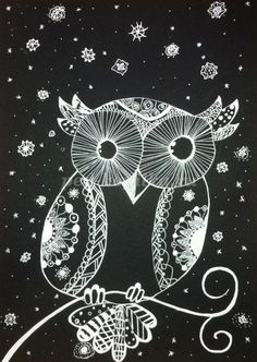 Scratch art owl in the snow Black And White Owl, White Art, Kids Room Art, Art For Kids, Cactus Cross Stitch, Winter Art Projects, Scratch Art, Autumn Theme, Art Plastique