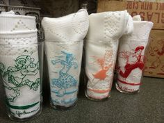 These are so cool! Vintage 1949 Li'l Abner Shmoo Tumbler Set in by VintageRoseandLace